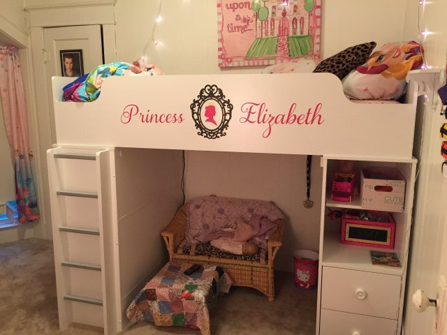 Custom vinyl cut with the #Cricut to decorate the side wall of child's bed.