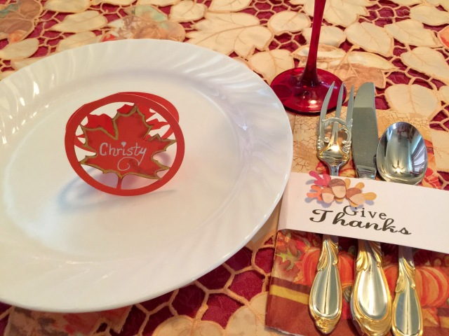 Thanksgiving Place Setting and Silverware Holder